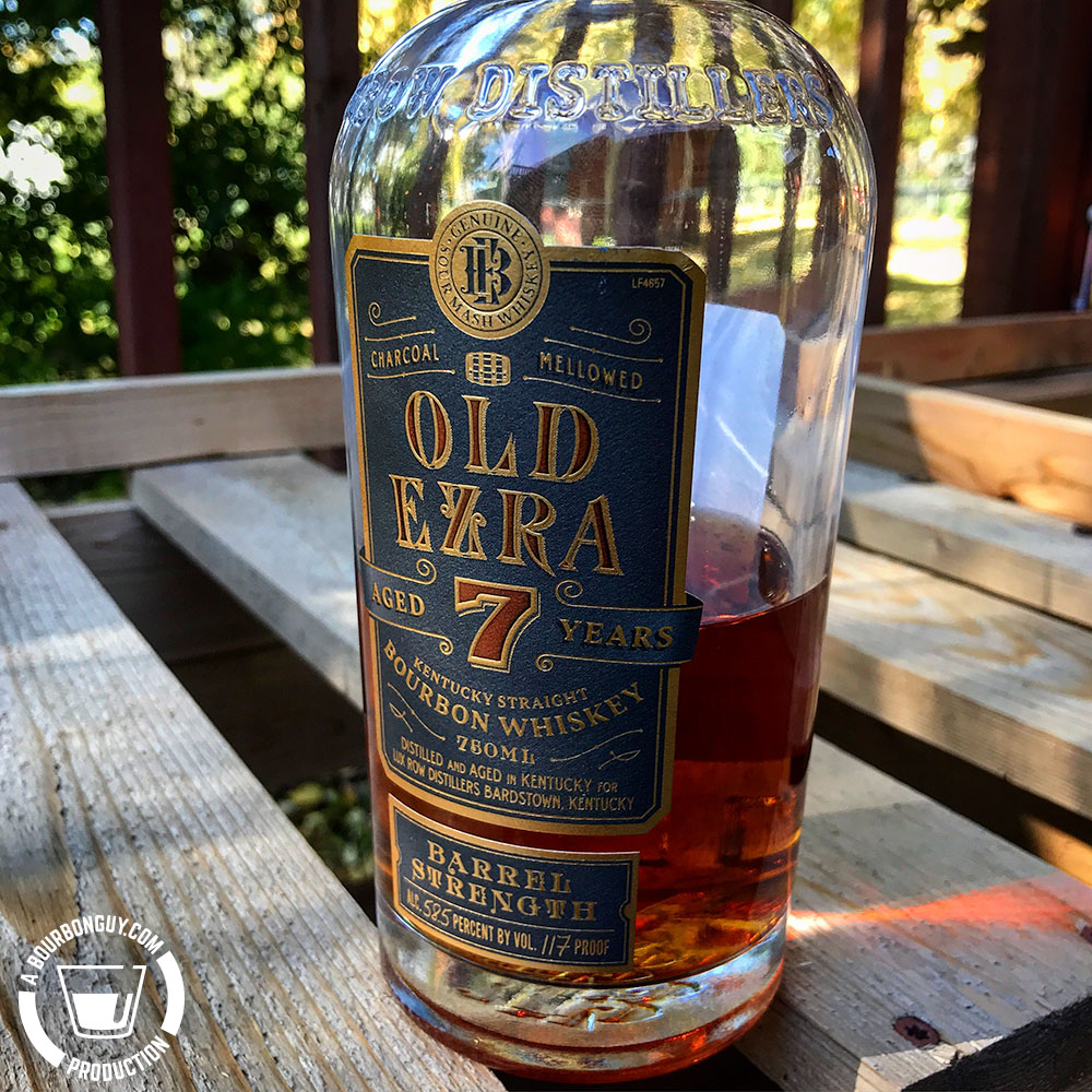 IMAGE: the front label of Old Ezra Barrel Strength. Aged 7 years. The bottle had Lux Row Distillers on the shoulder.