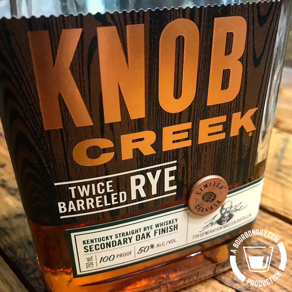 IMAGE: Front label of Knob Creek Twice Barreled Rye stating it is a limited release, 100 proof and that it is Kentucky Straight Rye Whiskey with a Secondary Oak Finish