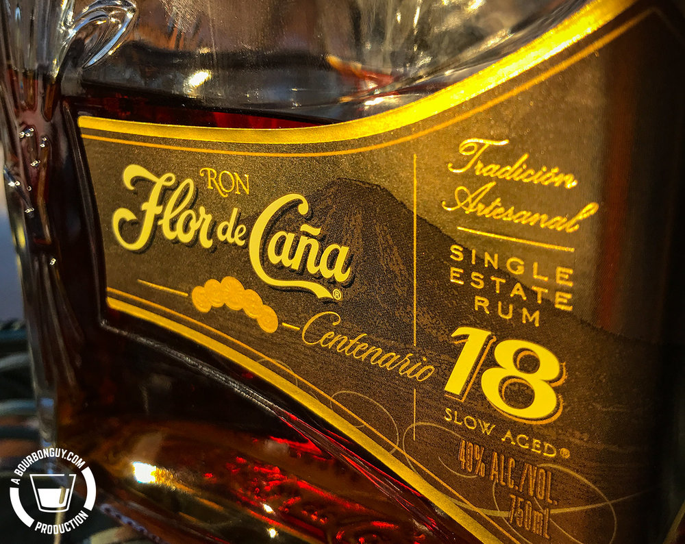 IMAGE: The front label of a bottle of Flor de Caña 18 Year Old Centenario.