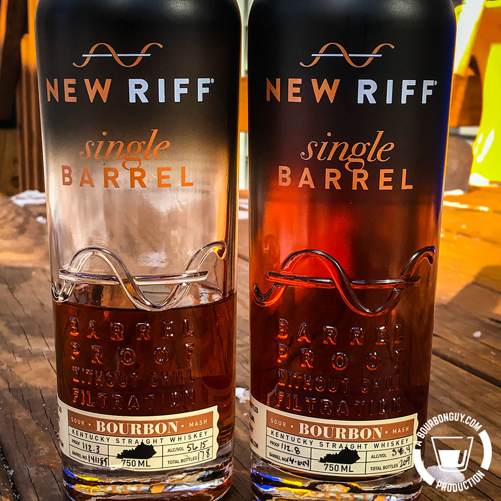 IMAGE: Two bottles of New Riff Single Barrel Bourbon. Both are barrel proof and non-chill filtered