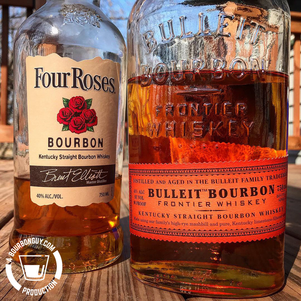 IMAGE: The front Labels of Four Roses and Bulleit Bourbon
