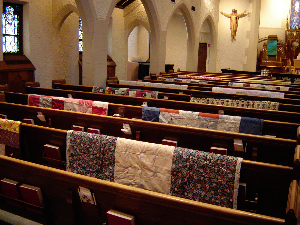 A couple times a year we hold an old fashioned quilting bee.  The quilts then blessed and sent to Lutheran World Relief for distribution to people in need.