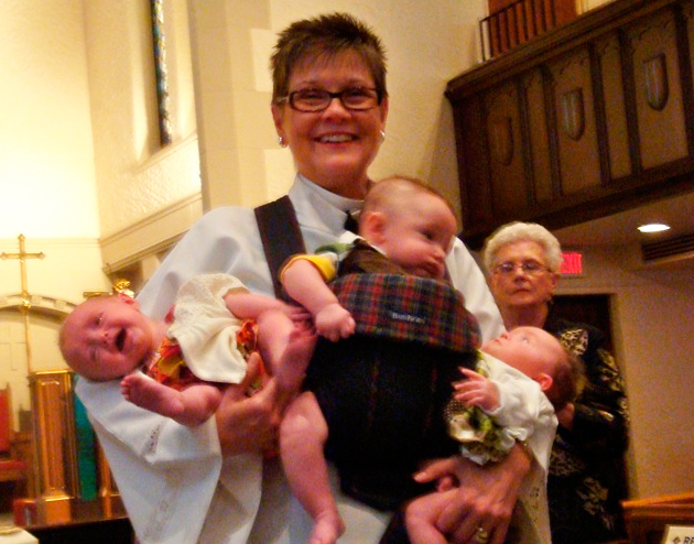 Pastor Rachel took full advantage of a rare opportunity to baptize triplets.
