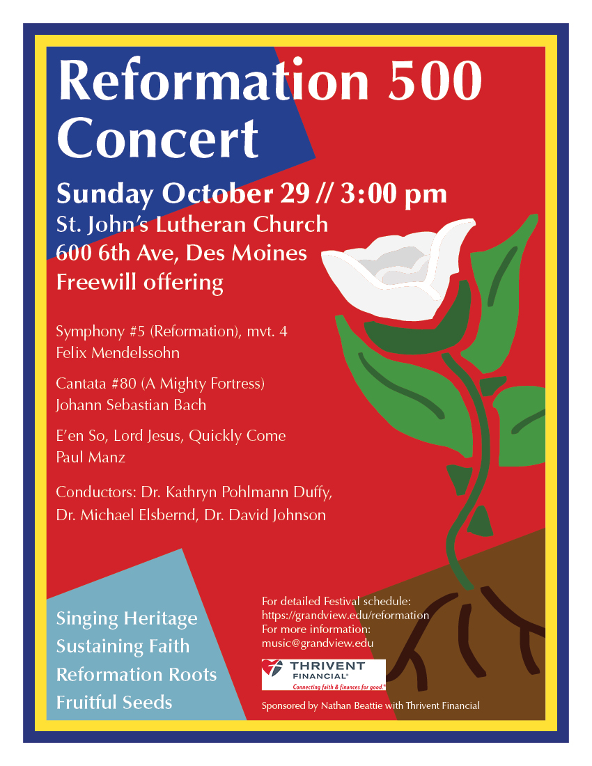Please join us in concert as we celebrate the 500th anniversary of the Reformation. Over 90 singers and a full orchestra will provide music through the centuries that exemplifies the best of the Reformation spirit. A light reception follows the performance. This concert is free and open to the public.