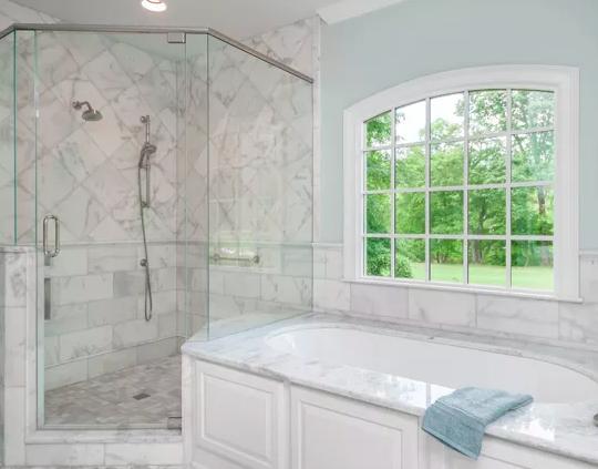 Marble Master Bathroom In North Atlanta -