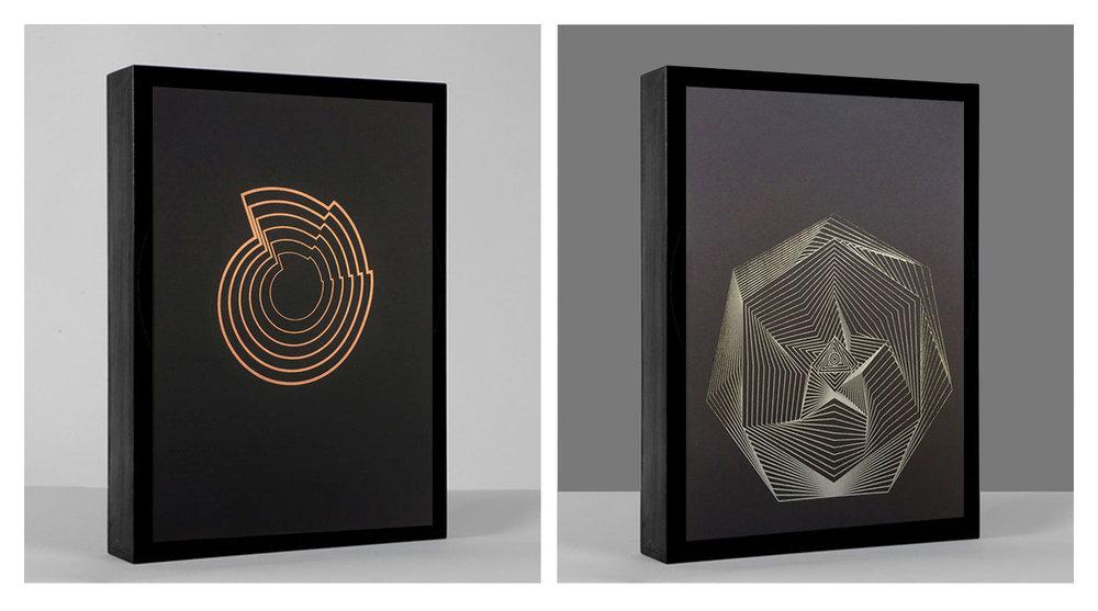 "Orbits  • 9"" x 12""Print • Version X  (interference ink)  - Version XI  (metallic silkscreen)"