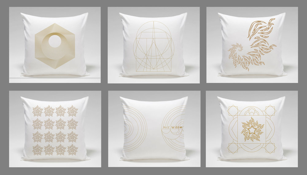 "PORTAL  • Pillow Set I  • Six 18"" x 18"" Silk screen printed linen pillows • Versions 1 - VI"