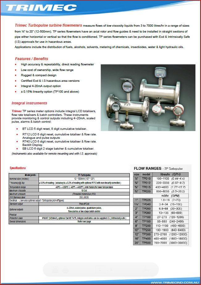 TURBINE DATA SHEET