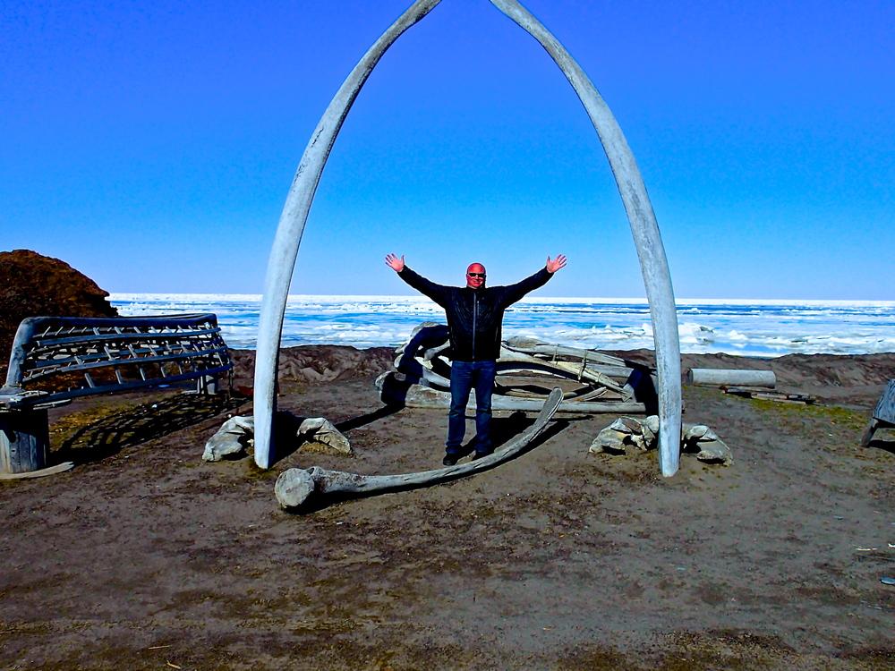 Robb in Barrow, Alaska overlooking the Arctic Ocean.