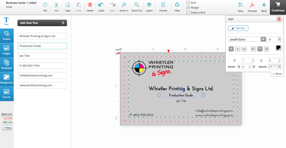 Screen shot of design tool to create layout out your card.