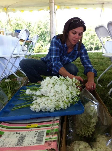 Calla prepares flowers in Reva, VA