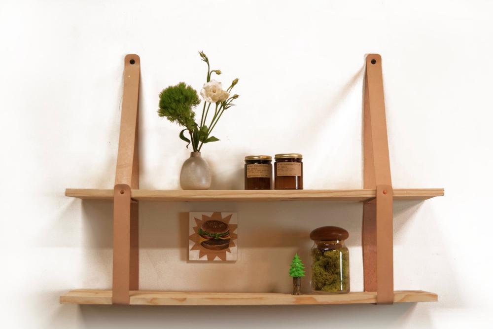 leather strap shelf soft goods. Black Bedroom Furniture Sets. Home Design Ideas
