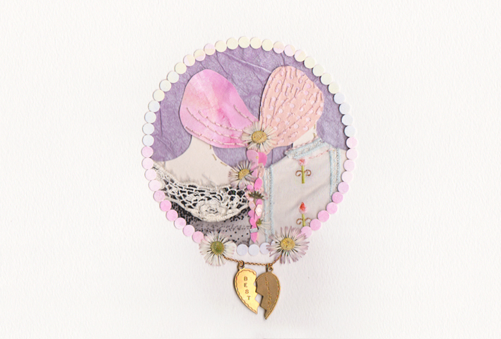 Best / Friends (fabric, pressed flowers, paper and vintage best friends heart charm)