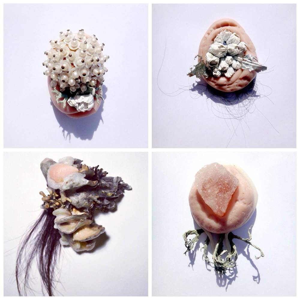 Mixed media sculptures composed of wax, lichen, hair, cast skin, and found jewelry. These sculptures are small, intimate, and ornamented, but recall images of the body and organs. The competition between beauty and disgust, inside and outside, the visible and the hidden, creates objects that feel simultaneously familiar but unfamiliar.