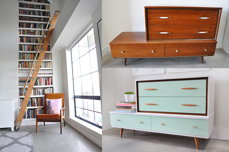 The library in my apartment and an up cycled dresser before & after