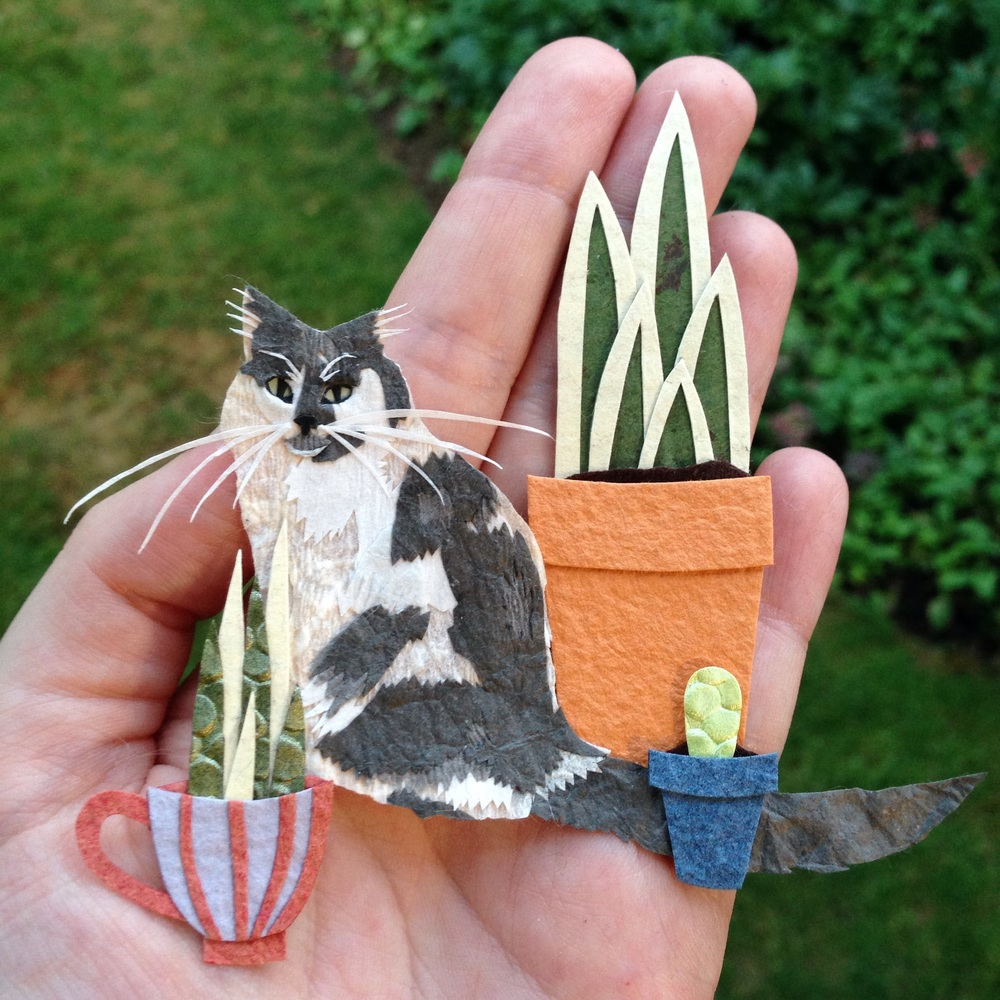 Paper Art Cat Plants Tara Galuska