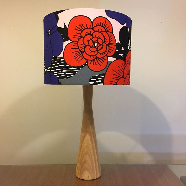 "Custom G&GD 'Conic' lamp for a customer in raw (no finish) Tasmanian Blackwood with custom 12"" D x 10"" H @marimekkoaustralia 'Unelma' fabric shade . . #lampshades #lampshade #customlampshades #lighting #decor #homedecor #design #interiordesign #textiles #handmade #australianmade #custom #woodworking #woodturning #tasmanianblackwood #bedsidelamps #marimekko #unelma #redfern #grahamandgraham"