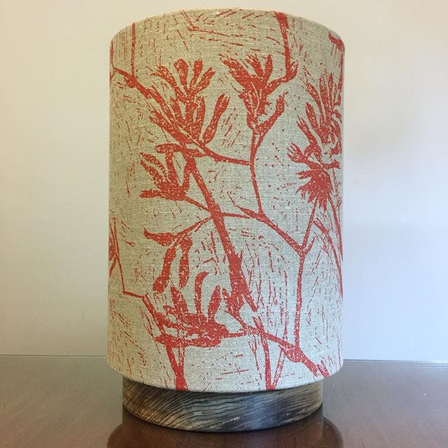 "G&GD 'Big Halo' lamp [shade: 9"" D x 12"" H] in @clothfabric 'Kangaroo Paw redrust on raw' linen. Paired with a raw Tasmanian Blackwood timber base . . #lampshades #lampshade #customlampshades #lighting #decor #homedecor #design #interiordesign #textiles #handmade #australianmade #custom #linen #clothfabric #ascraft #kangaroopaw #woodworking #woodturning #tasmanianblackwood #redfern #grahamandgraham"