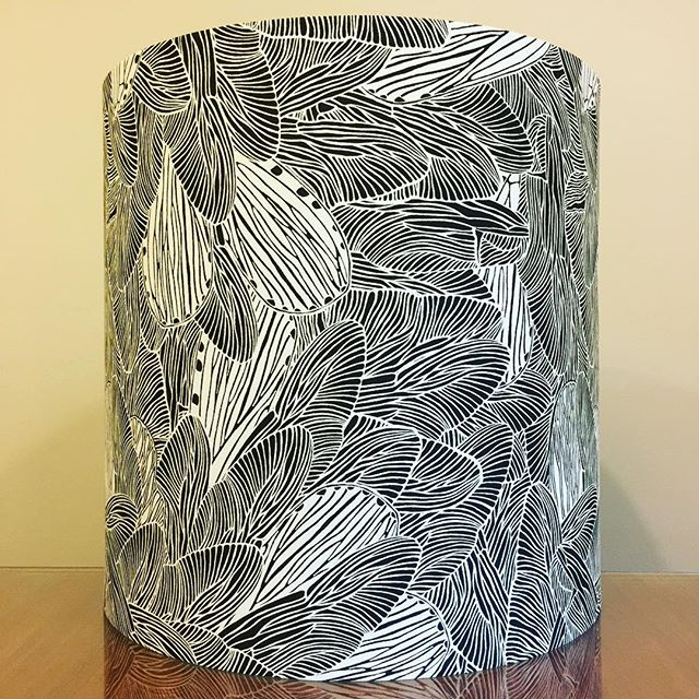 "Custom 16"" D x 16"" H lampshade with customer's very own designed fabric ◾️◽️◾️◽️ . . #lampshades #lampshade #customlampshades #lighting #decor #homedecor #design #interiordesign #textiles #handmade #australianmade #custom #blackandwhiteprint #redfern #grahamandgraham"