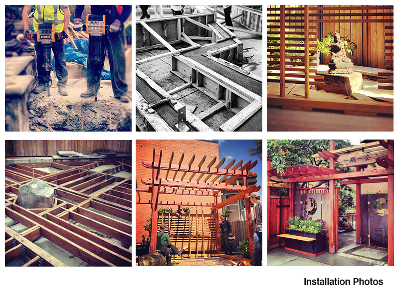 Construction of the garden took 7 weeks and included concrete, wood, metal, irrigation, landscaping and lighting projects.