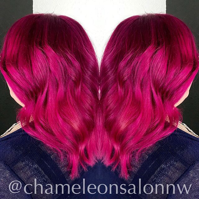 💖We've had fun painting hair pretty shades of pink this week! Magenta waves by Madelyn. Sleek Barbie Pink locks by Nicole. 💖
