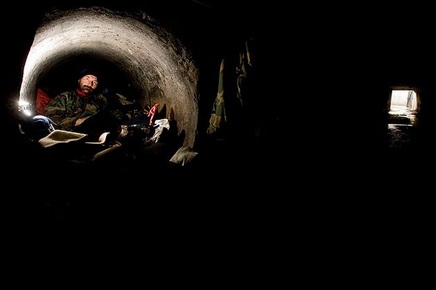 Richard 'IRON', 45 years old, homeless and living in the vast Las Vegas tunnel system. His home, a 4-5ft diameter sealed pipe, 4 feet off the ground keeps him dry.