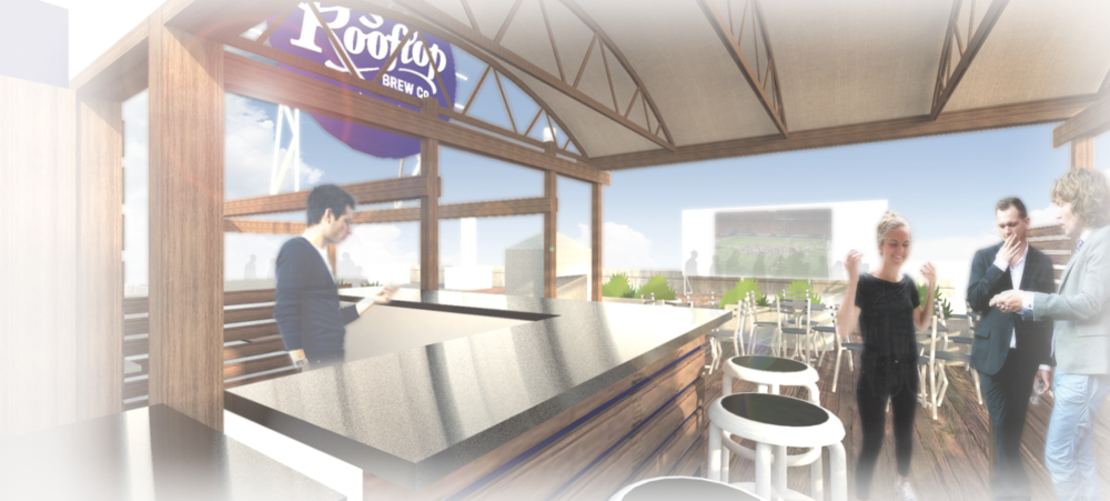 Architect's rendering of the rooftop deck bar.