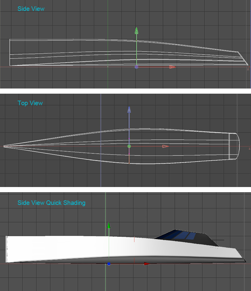 Wireframes showing the overall shape of the main hull.