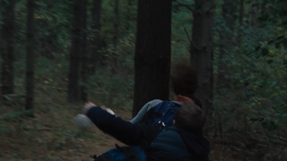 "My personal favorite part of the movie, I present ""Lady runs into tree."""