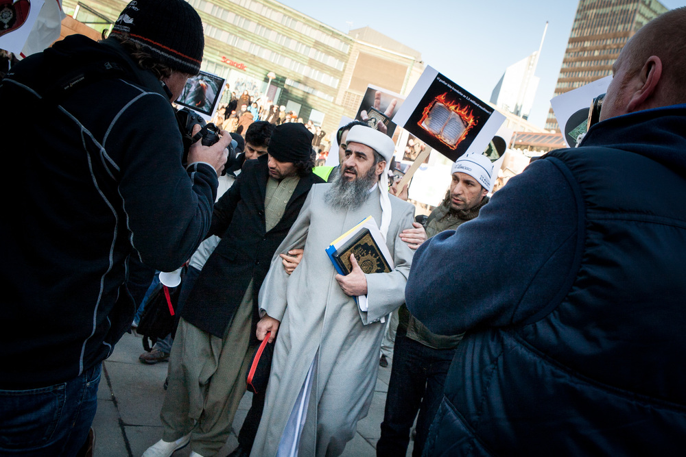 Demonstration in Oslo leaded by Mulla Krekar, against the burning of Qurans at an American military base in Afghanistan in 2012.