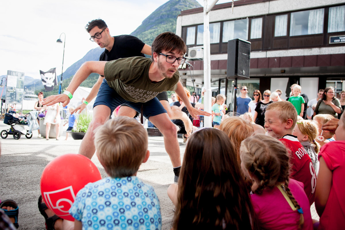 "The group ""Borgarting"" enterataining children at RaumaRock festival in Åndalsnes. Borgarting is an improvisational theatre group that travel around Norway every summer entertaining people."