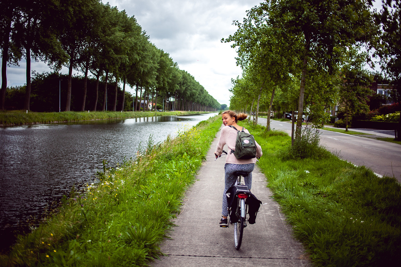 Cycling from Bruges to Sluis in the Netherlands.
