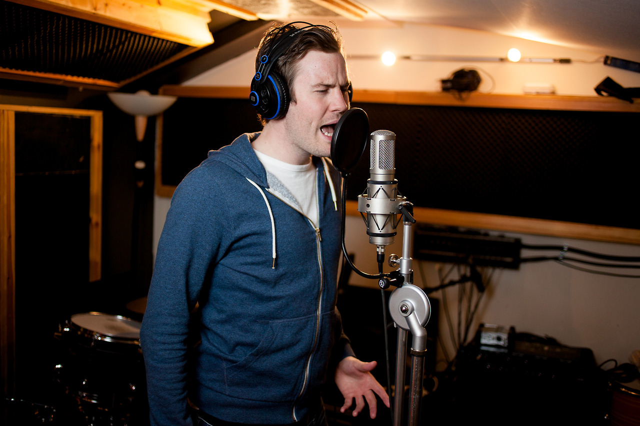 Winner of the Norwegian song contest  The Voice,  Knut Marius Djupvik,recording his debut album.    This was on an assignment for Romsdals Budstikke, featured in tomorrow's newspaper.