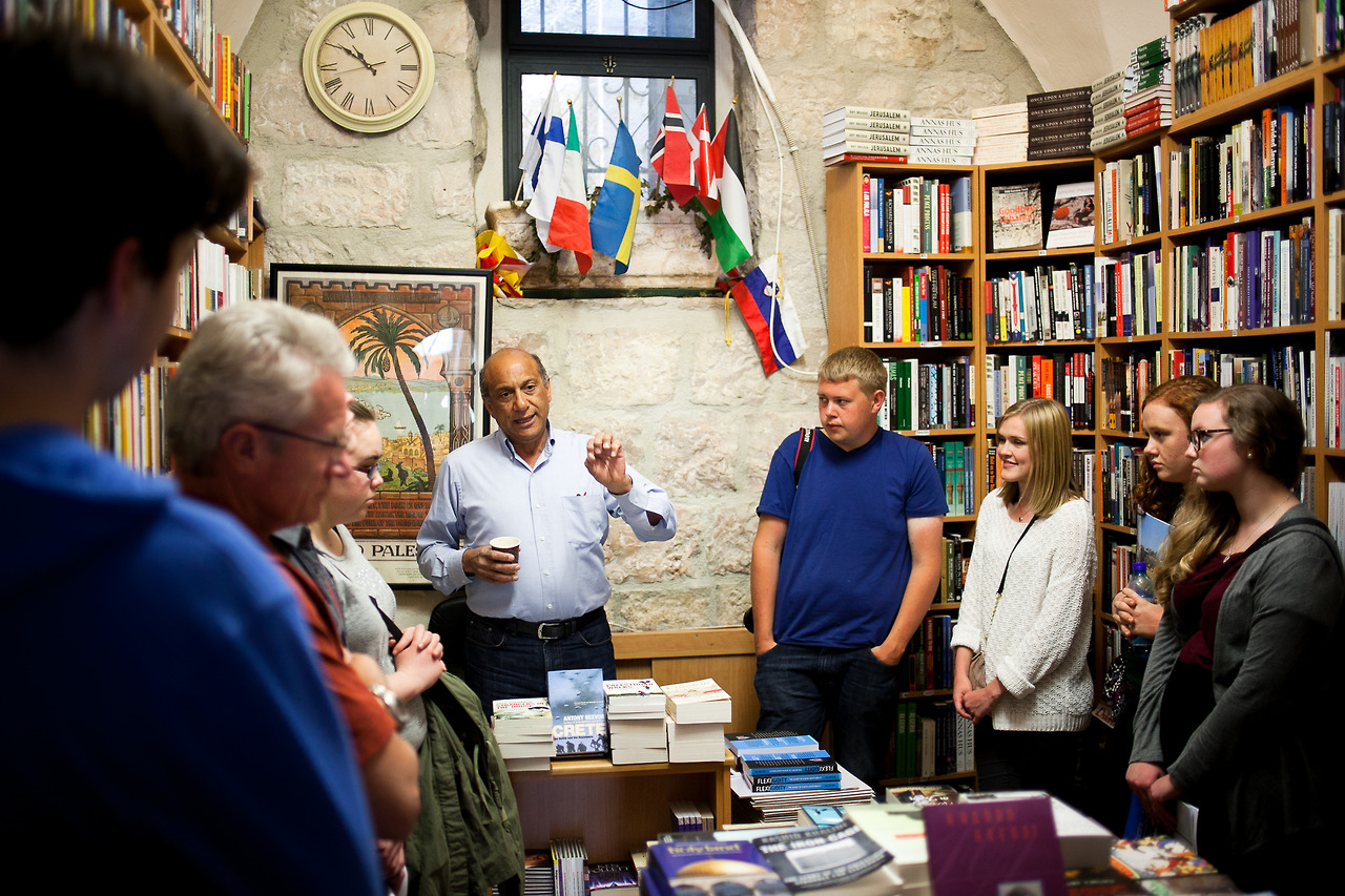 Visiting Munther Fahmi, the owner of T he Bookshop at the American Colony Hotel in Jerusalem. He told us about the difficult situation he went through  getting permition to keep his bookshop open.