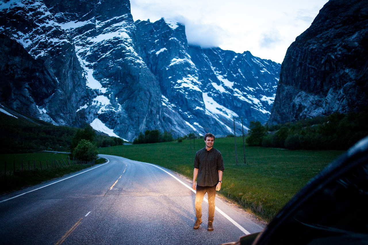 Me and my friends on the road to Isfjorden, my hometown in western Norway.