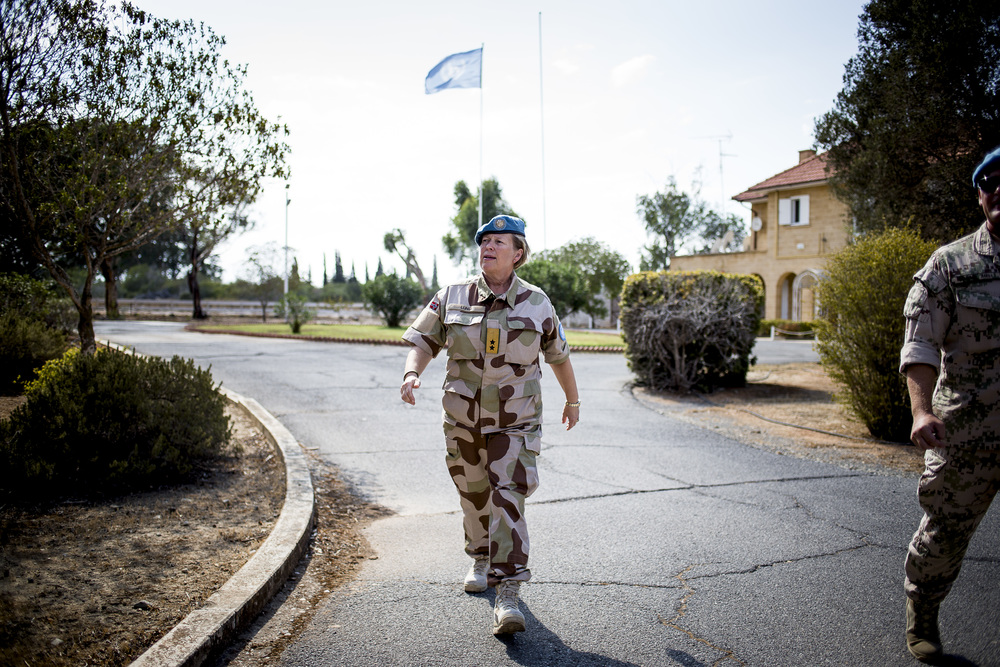 Newly elected UN general from Norway, Kristin Lund, in Cyprus. She just started her duties in a complex conflicted area, where UN's peacekeeping forces has been present since 1964.
