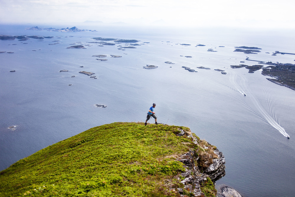 View from the top of Trænstaven. A mountain top 33 nautical miles out in the sea in Northern Norway.