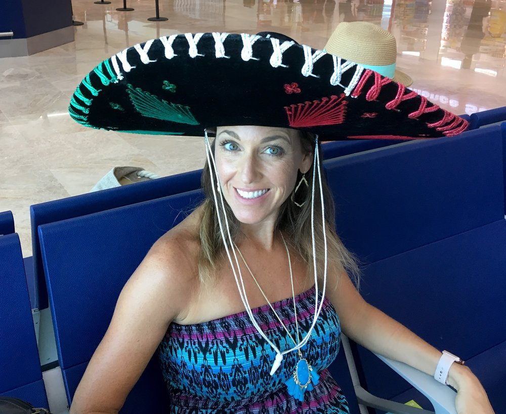 Jill won a sombrero at the Blackjack table and wore it home :)