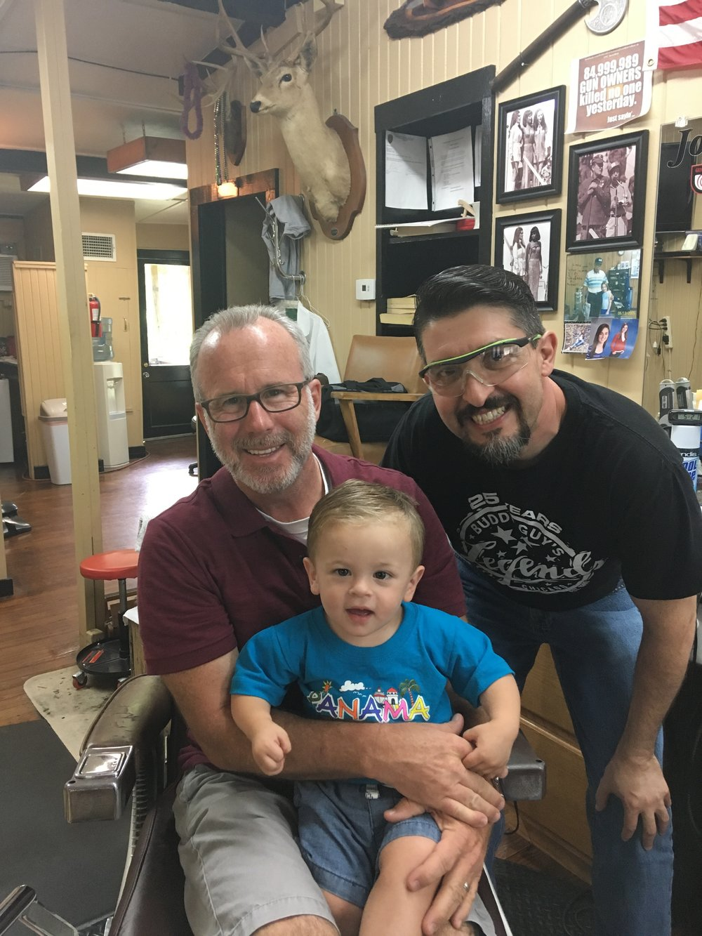 Getting a haircut with my grandson