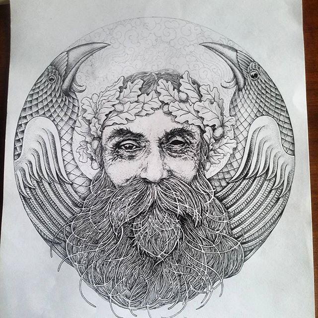 Boom! Finally done! Odin, the most fascinating and contradictory of all mythological beings. The unmanly patriarch, the ruler tormented by his concience, god of war and of poetry. #inktober #inkreview #art_spotlight #art #odin #mythology #dotwork #fineliner