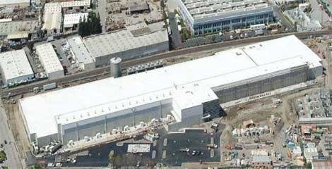 An aerial view of the DuPont Fabros data center in Santa Clara, California. (Photo: DuPont Fabros Technology)