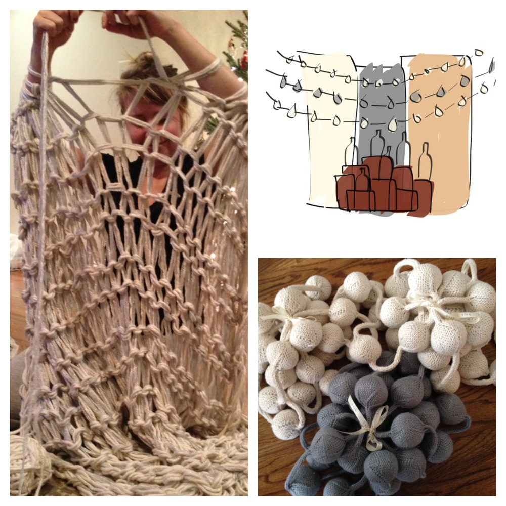 Kate arm-knitting, sketch of the display design, lots of bobbles ready to ship!