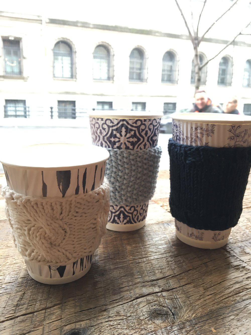 A few coffee mug covers to keep the hands cozy! (How beautiful are Maman's custom designed cups?!)