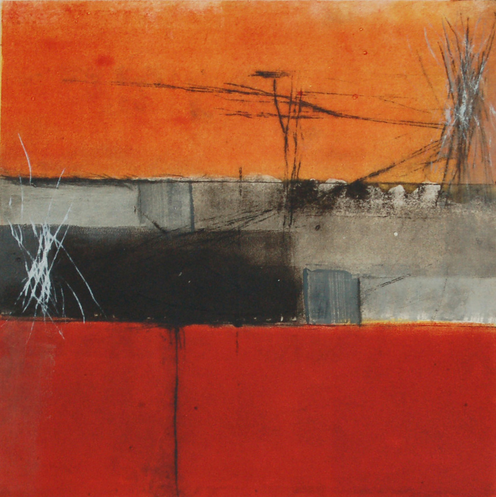 SG-007, Sue Gordon, Breaking Walls, Monoprint on paper, 12x12.JPG