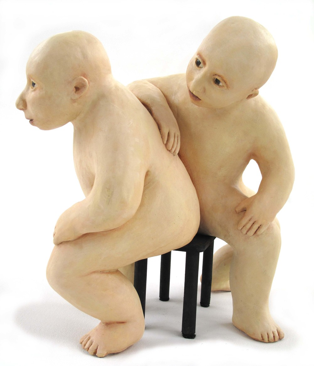 EB-029, Curious Disturbance, Ceramic with Acrylic Paint, 2009, 10.5 x 12 x 6, SOLD.jpg