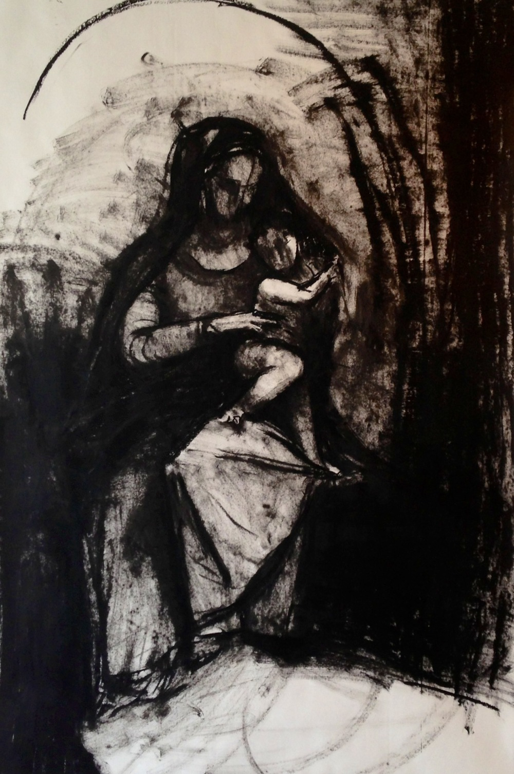 Mother and Child, Oil Bar on Paper, 2013, 42.00 x 65.00.jpeg