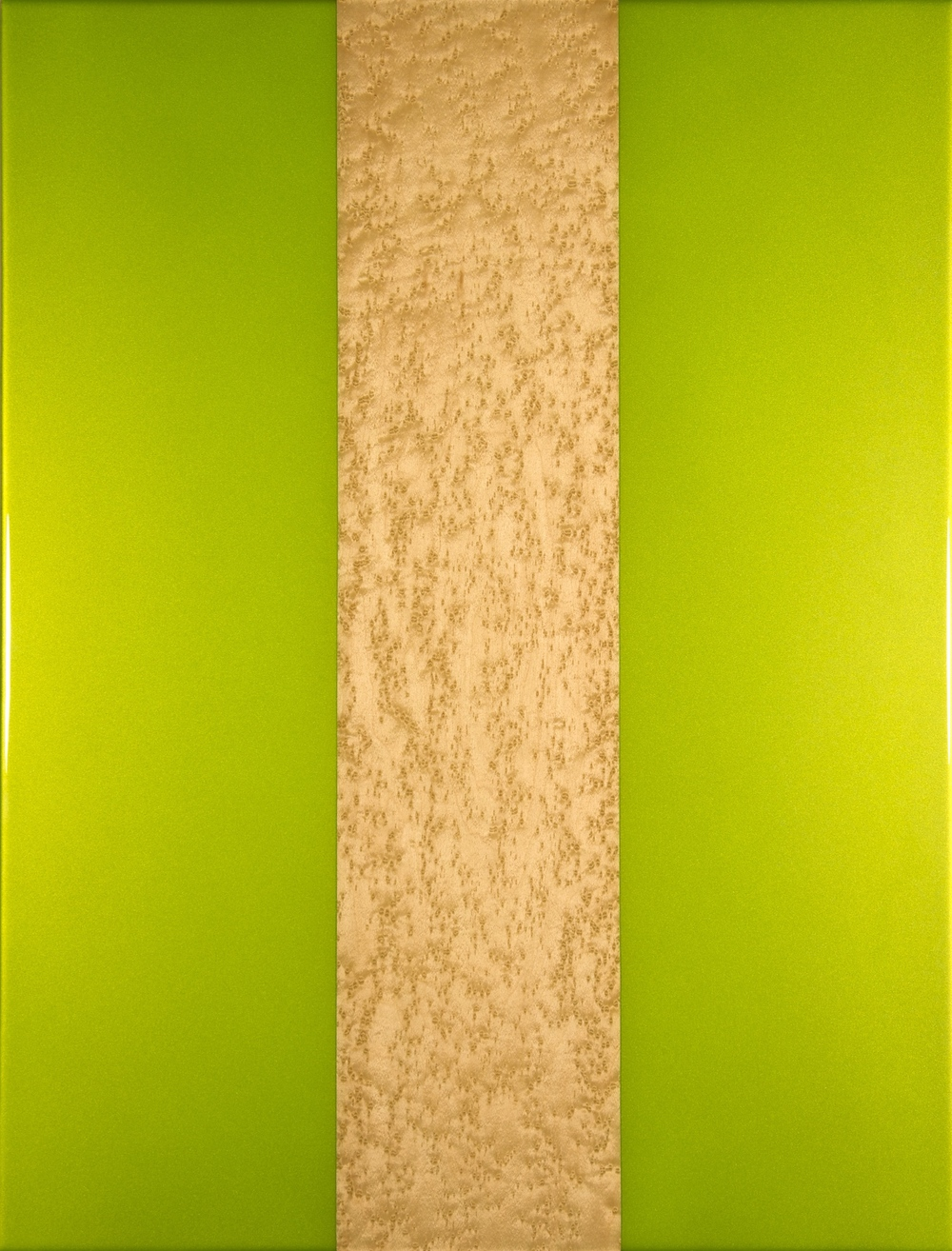 "Green Paint and Wood, Iridescent acrylic paint, birdseye maple, resin, 23"" x 30,"" 2014"