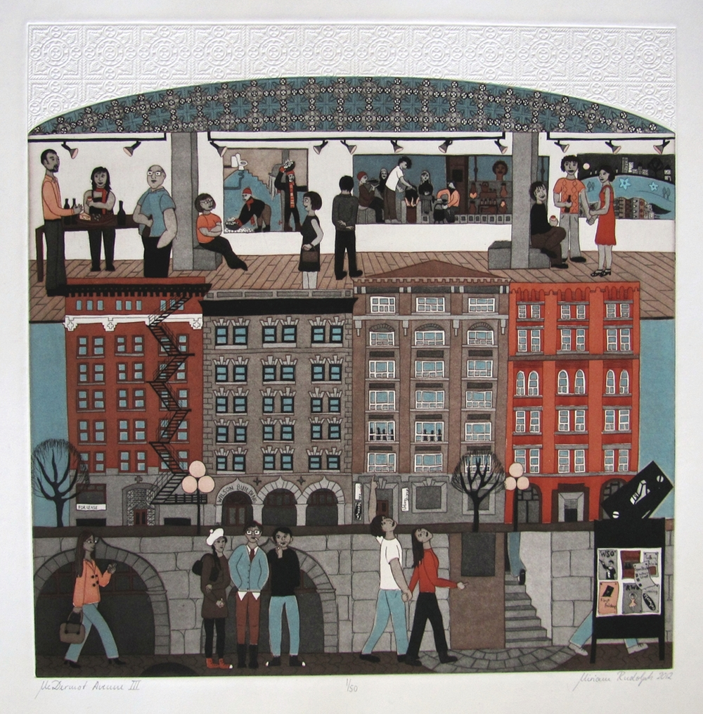 "Miriam Rudolph, McDermot Avenue III, Double-Plate Colour Etching, Relief Roll through Stencil, 45.5"" x 45.5"""