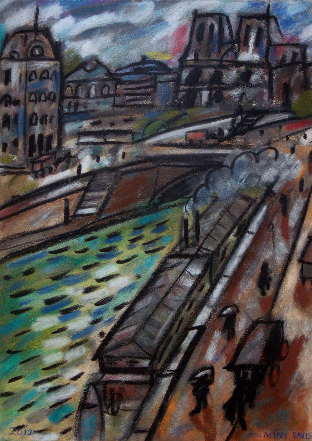 """Mini Davis, Notre Dame 1910, Chalk Pastel, 15"""" x 20"""""""