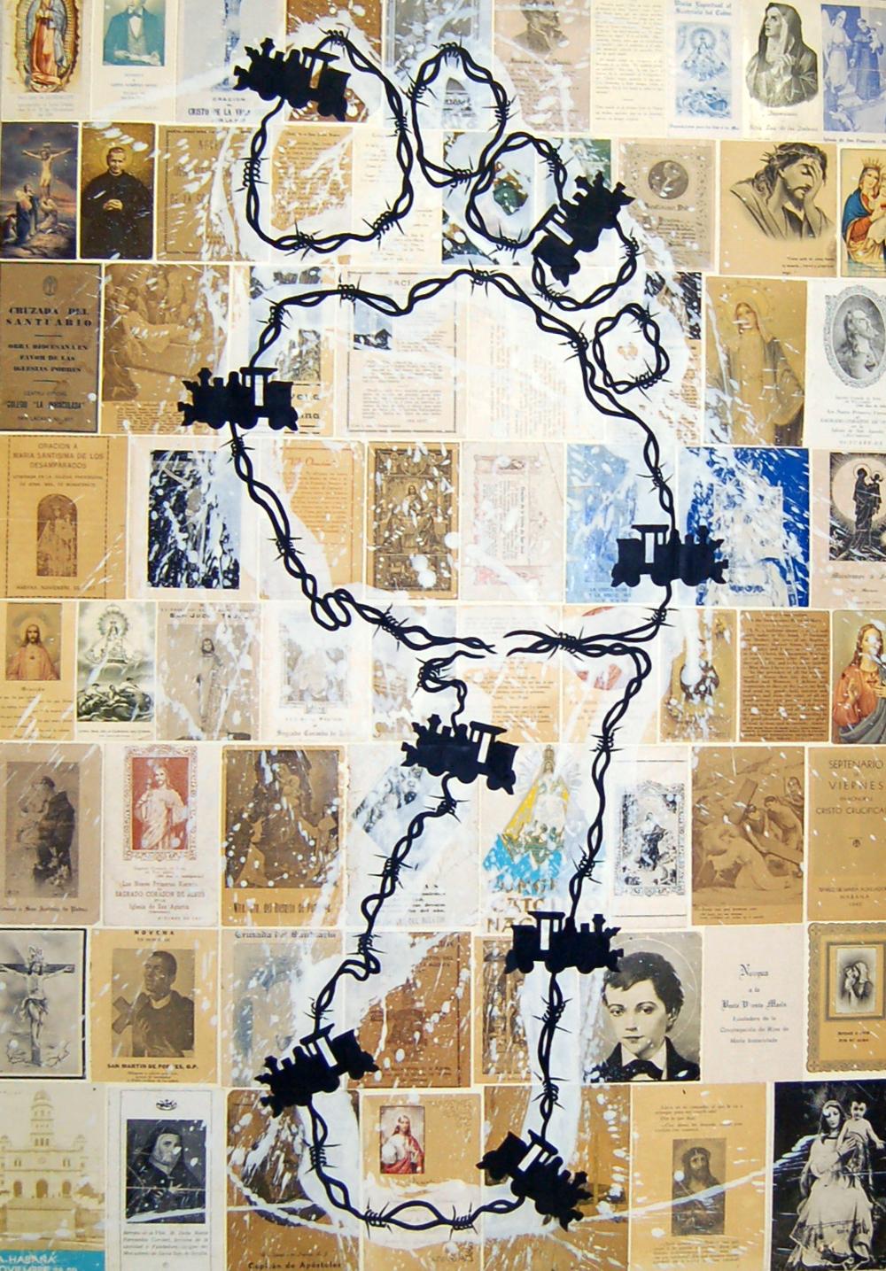 "JairoAlfonso,Sin Titula (Untitled), acrylic, plaster, collage on canvas, 39.3"" x 27"